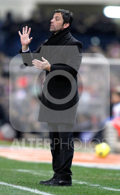 Atletico de Madrid's coach Quique Sanchez Flores during King's Cup match. January 20, 2011. (ALTERPHOTOS/Alvaro Hernandez).