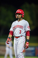 AZL Reds center fielder Reshard Munroe (3) stands on first base during the game against the AZL Giants on August 12, 2017 at Scottsdale Stadium in Scottsdale, Arizona. AZL Giants defeated the AZL Reds 1-0. (Zachary Lucy/Four Seam Images)