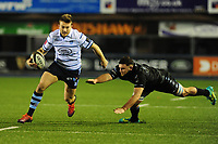 Garyn Smith of Cardiff Blues evades the tackle of Adam Ashe of Glasgow Warriors during the Guinness Pro14 Round 15 match between the Cardiff Blues and Glasgow Warriors at Cardiff Arms Park in Cardiff, Wales, UK.  Saturday 16 February 2018