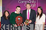 James Corry Killorglin being presented the Student of the year award from Principal Con Moynihan and with his mum Christine and sister Cliodhna at the Killorglin Community College awards on Thursday evening ..