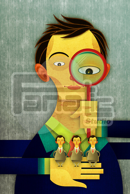 Illustrative image of businessman with magnifying glass recruiting candidates