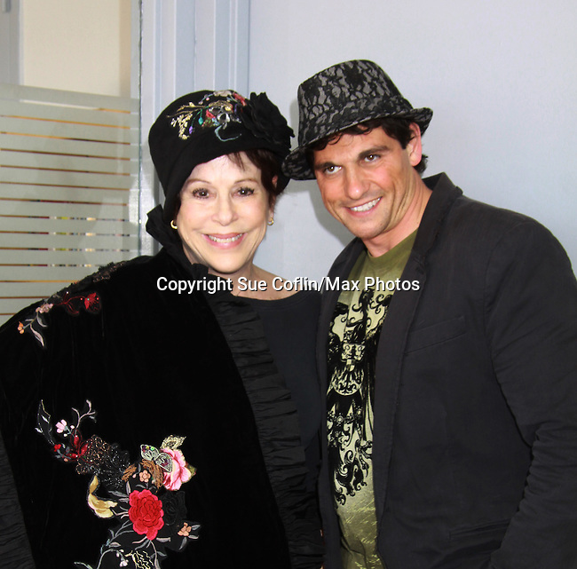"""Days Of Our Lives Louise Sorel poses with Billy Freda (Mr.Romance)  Promo shoot for the annual Broadway Extravaganza in honor of Jane Elissa's Candidacy for Leukemia & Lymphoma Society Woman of the Year and for Hats for Health on April 23, 2012 at the Marriott Marquis Hotel, New York City, New York. In the shoot are Days of Our Live Louise Sorel """"Vivian"""", Broadway Bonnie and Clyde Melissa VanDer Schyff and Clay Elder, Dale Badway (Creator Fame-Wall) and host for the upcoming event, Corey Brunish (producer of Bonnie & Clyde) and Billy Freda, Missy Modell (Photo by Sue Coflin/Max Photos)"""