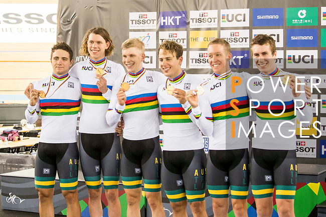 The team of Australia with Sam Welsford, Cameron Meyer, Alexander Porter and Nicholas Yallouris celebrates after winning the Men's Team Pursuit - Finals as part of the 2017 UCI Track Cycling World Championships on 13 April 2017, in Hong Kong Velodrome, Hong Kong, China. Photo by Chris Wong / Power Sport Images