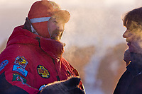 Race veterinarian at the Yukon Quest sled dog race start in Fairbanks, Alaska. Minus 40 degrees.