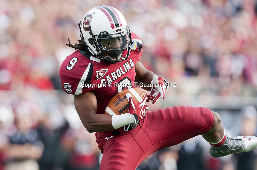 January 2, 2012: South Carolina Gamecocks wide receiver Ace Sanders (9) 42 yard reception during second half game action in the Capital One Bowl between the Nebraska Cornhuskers and the South Carolina Gamecocks. South Carolina defeated Nebraska 30-13 at the Citrus Bowl in Orlando, Fl.