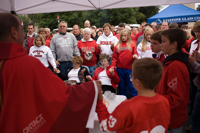 A Catholic Mass was held in the stadium parking lot before The University of Nebraska vs. The University of Southern California football game. Lincoln, Nebraska, September 15, 2007.