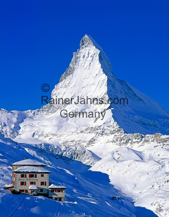 Switzerland, Valais, Zermatt, view from Riffelberg at Matterhorn Mountain (4.478 m)