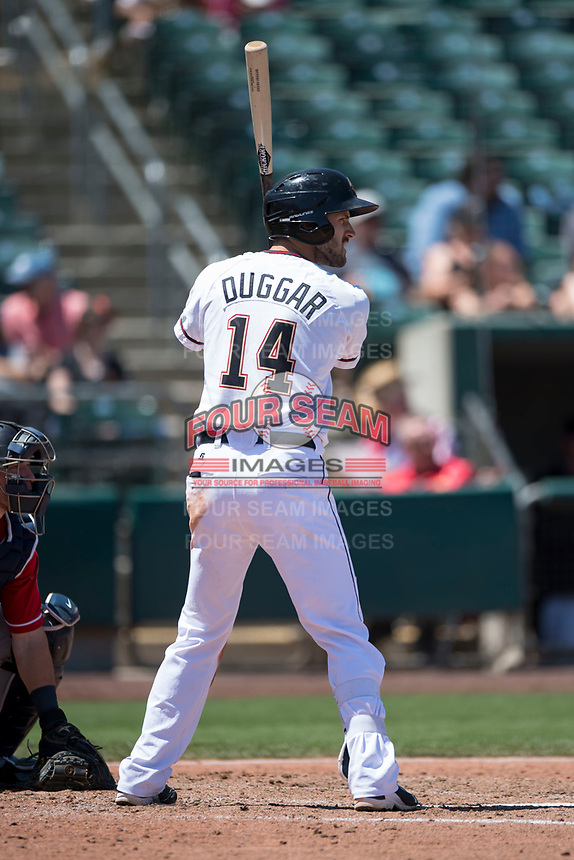 Sacramento RiverCats center fielder Steven Duggar (14) at bat during a Pacific Coast League against the Tacoma Rainiers at Raley Field on May 15, 2018 in Sacramento, California. Tacoma defeated Sacramento 8-5. (Zachary Lucy/Four Seam Images)