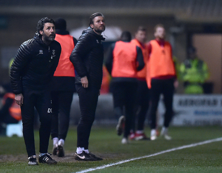 Lincoln City manager Danny Cowley, left, and Nicky Cowley in their technical area<br /> <br /> Photographer Andrew Vaughan/CameraSport<br /> <br /> The EFL Sky Bet League Two - Lincoln City v Exeter City - Tuesday 26th February 2019 - Sincil Bank - Lincoln<br /> <br /> World Copyright © 2019 CameraSport. All rights reserved. 43 Linden Ave. Countesthorpe. Leicester. England. LE8 5PG - Tel: +44 (0) 116 277 4147 - admin@camerasport.com - www.camerasport.com