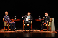 FORT LAUDERDALE FL - JUNE 12: Former U.S. President Bill Clinton, James Paterson and Brad Meltzer speak during 'The President is Missing' book tour at The Broward Center on June 12, 2018 in Fort Lauderdale, Florida. <br /> CAP/MPI04<br /> &copy;MPI04/Capital Pictures