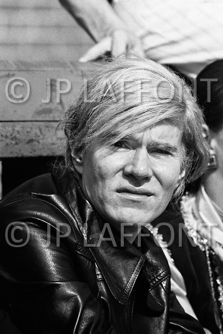 Manhattan, New York City, New York State, USA. April 29th, 1969. American Pop artist Andy Warhol at the first anniversary concert, in Central Park, for the Broadway musical Hair.