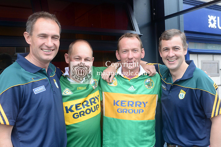 Up for the match.... Christy Fitzgibbon with Kenmare brothers Conor, John and Senator Mark Daly from Kenmare pictured at the Kery V Dublin All-Ireland Semi-Final in Croke Park on Sunday.<br /> Photo Don MacMonagle