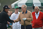 AUGUSTA, GA - APRIL 11: Jack Nicklaus shakes hands with Gary Player during the First Round of the 2013 Masters Golf Tournament at Augusta National Golf Club on April 10in Augusta, Georgia. (Photo by Donald Miralle) *** Local Caption ***