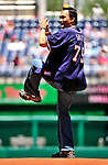 4 July 2010: Dressed in a Washington Nationals jersey, American actor Jimmy Smits throws out the ceremonial first pitch prior to a game against the New York Mets at Nationals Park in Washington, DC. The Mets defeated the Nationals 9-5 in the fourth game and splitting their 4-game series. Mandatory Credit: Ed Wolfstein Photo