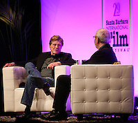 SANTA BARBARA, CA - FEBRUARY 07: Robert Redford, Leonard Maltin at the 29th Santa Barbara International Film Festival - Robert Redford Honored With The American Riviera Award held at the Arlington Theatre on February 7, 2014 in Santa Barbara, California. (Photo by Xavier Collin/Celebrity Monitor)