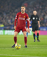 26th December 2019; King Power Stadium, Leicester, Midlands, England; English Premier League Football, Leicester City versus Liverpool; Jordan Henderson of Liverpool with the ball at his feet - Strictly Editorial Use Only. No use with unauthorized audio, video, data, fixture lists, club/league logos or 'live' services. Online in-match use limited to 120 images, no video emulation. No use in betting, games or single club/league/player publications