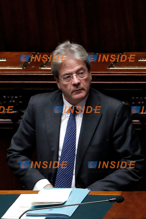 Paolo Gentiloni<br /> Roma 13-12-2016.      Camera Voto di Fiducia al nuovo Governo<br /> Rome December 13th 2016. Chamber of Deputies. Trust vote to the new Government<br /> Foto Samantha Zucchi Insidefoto