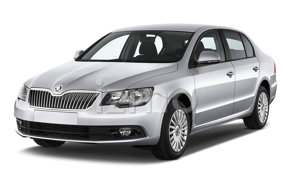 2014 Skoda SUPERB Active 5 Door Hatchback 2WD Angular Front stock photos of front three quarter view