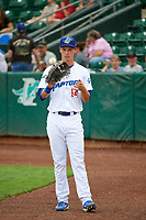 Dillon Paulson (14) of the Ogden Raptors before the game against the Idaho Falls Chukars at Lindquist Field on July 2, 2018 in Ogden, Utah. The Raptors defeated the Chukars 11-7. (Stephen Smith/Four Seam Images)