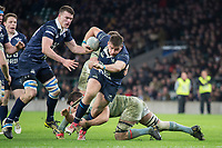 Twickenham, Surrey. UK. Prop, Kieran BALL, on the attack, during the 2017 Men's Varsity Rugby Match, Oxford vs Cambridge Universities. RFU Stadium, Twickenham. Surrey, England.<br />