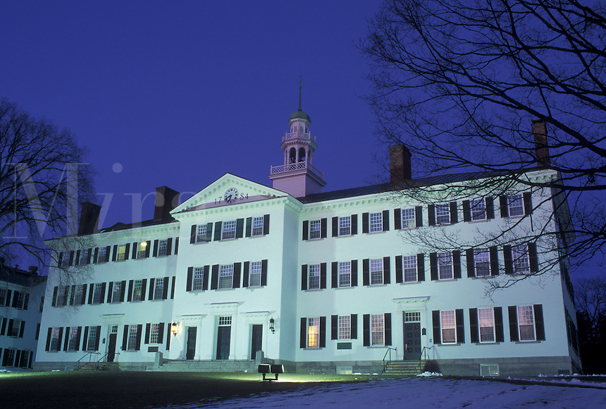 university, New Hampshire, NH, Building on the campus of Dartmouth College in Hanover in the evening in winter.
