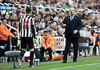 Newcastle United manager Rafa Benitez shouts instructions to his team from the dug-out <br /> <br /> Photographer Rich Linley/CameraSport<br /> <br /> The Premier League -  Newcastle United v Liverpool - Sunday 1st October 2017 - St James' Park - Newcastle<br /> <br /> World Copyright &copy; 2017 CameraSport. All rights reserved. 43 Linden Ave. Countesthorpe. Leicester. England. LE8 5PG - Tel: +44 (0) 116 277 4147 - admin@camerasport.com - www.camerasport.com