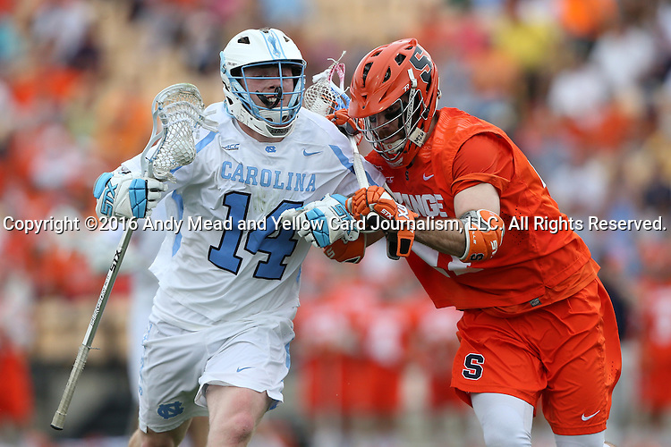 29 April 2016: North Carolina's William McBride (14) and Syracuse's Joe Gillis (right). The University of North Carolina Tar Heels played the Syracuse University Orange at Fifth Third Bank Stadium in Kennesaw, Georgia in a 2016 Atlantic Coast Conference Men's Lacrosse Tournament semifinal match.