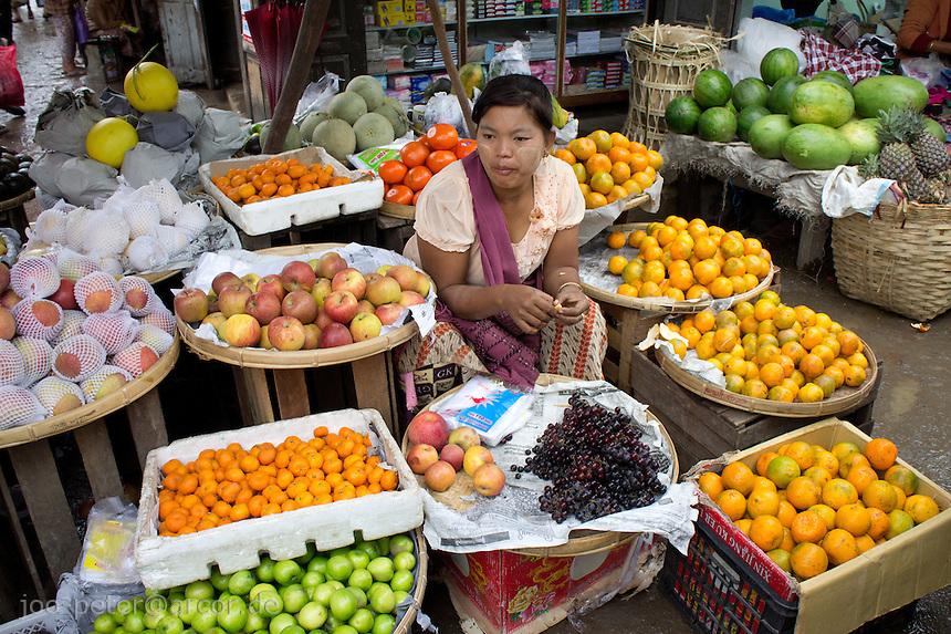 at market in village  Nyaungshwe close to  Inle Lake, Shan state,  Myanmar, 2011