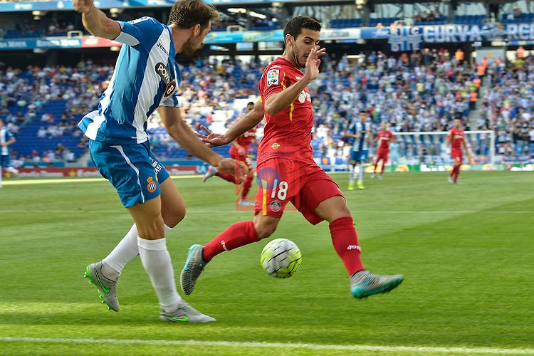 League BBVA 2015/2016. Game: 1.<br /> RCD Espanyol vs Getafe CF: 1-0.<br /> Victor Sanchez vs Victor Rodriguez.