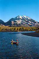 Fly fishing for trout on the Yellowstone River, Paradise Valley, Emigrant Peak, Montana.  Fall.