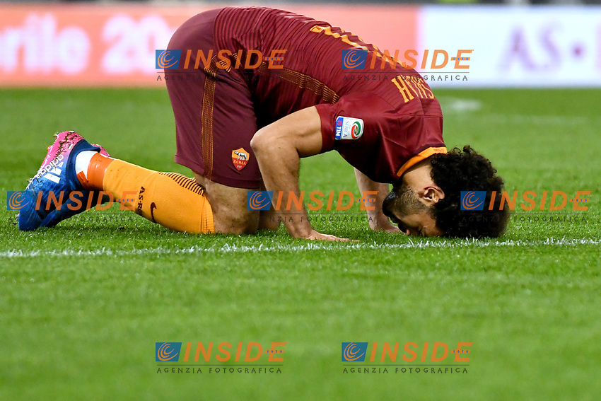Esultanza dopo il gol di Mohamed Salah Roma. Goal celebration.<br /> Roma 19-03-2017  Stadio Olimpico<br /> Campionato Serie A, <br /> AS Roma - Sassuolo<br /> Foto Antonietta Baldassarre / Insidefoto