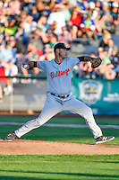 Zac Correll (29) of the Billings Mustangs delivers a pitch to the plate against the Ogden Raptors in Pioneer League action at Lindquist Field on August 12, 2016 in Ogden, Utah. Billings defeated Ogden 7-6.(Stephen Smith/Four Seam Images)