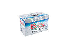 A pack of 36 355ml cans of Coors Light beer is pictured over a pure white background.