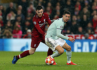 Bayern Munich's Robert Lewandowski vies for possession with Liverpool's Andrew Robertson<br /> <br /> Photographer Rich Linley/CameraSport<br /> <br /> UEFA Champions League Round of 16 First Leg - Liverpool and Bayern Munich - Tuesday 19th February 2019 - Anfield - Liverpool<br />  <br /> World Copyright © 2018 CameraSport. All rights reserved. 43 Linden Ave. Countesthorpe. Leicester. England. LE8 5PG - Tel: +44 (0) 116 277 4147 - admin@camerasport.com - www.camerasport.com