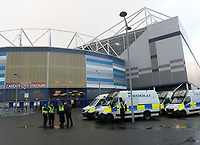 A heavy police presence prior to the game <br /> <br /> Photographer Ian Cook/CameraSport<br /> <br /> The EFL Sky Bet Championship - Cardiff City v Swansea City - Sunday 12th January 2020 - Cardiff City Stadium - Cardiff<br /> <br /> World Copyright © 2020 CameraSport. All rights reserved. 43 Linden Ave. Countesthorpe. Leicester. England. LE8 5PG - Tel: +44 (0) 116 277 4147 - admin@camerasport.com - www.camerasport.com
