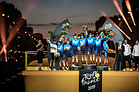 Team movistar on podium as best ranked team in the Tour de France 2019<br /> <br /> <br /> Stage 21: Rambouillet to Paris (128km)<br /> 106th Tour de France 2019 (2.UWT)<br /> <br /> ©kramon
