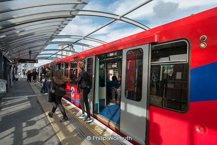 Docklands Light Railway train at Crossharbour station Isle of Dogs London