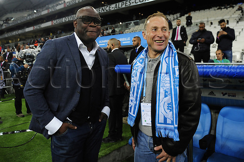 16.10.2016. Marseille, France. French league 1 football. Olympique Marseille versus Metz.  Basile Boli (OM) and Jean Pierre Papin