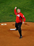 30 March 2008: United States President George W. Bush throws out the ceremonial first pitch prior to the inaugural first game at Nationals Park where the Washington Nationals defeated the visiting Atlanta Braves 3-2 in Washington, DC. The win christened the new state-of-the-art ballpark with a sellout crowd of 39,389...Mandatory Photo Credit: Ed Wolfstein Photo