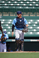 Tampa Bay Rays catcher Chris Betts (26) during an Instructional League game against the Baltimore Orioles on October 2, 2017 at Ed Smith Stadium in Sarasota, Florida.  (Mike Janes/Four Seam Images)