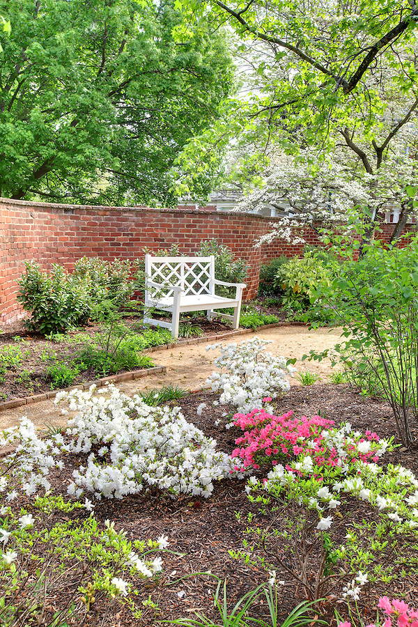 The University of Virginia pavilion garden I in spring on central grounds.