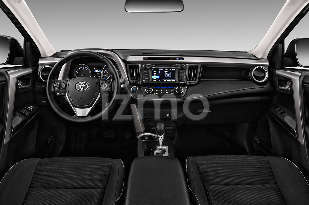 Stock photo of straight dashboard view of a 2018 Toyota RAV4 Adventure 5 Door SUV