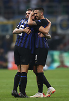 Football Soccer: UEFA Champions League FC Internazionale Milano vs Tottenham Hotspur FC, Giuseppe Meazza stadium, September 15, 2018.<br /> Inter's captain Mauro Icardi (l) Matias Vecino (r) and Stefan de Vrij (c) celebrate after winning 2-1 the Uefa Champions League football match between Internazionale Milano and Tottenham Hotspur at Giuseppe Meazza (San Siro) stadium, September 18, 2018.<br /> UPDATE IMAGES PRESS/Isabella Bonotto