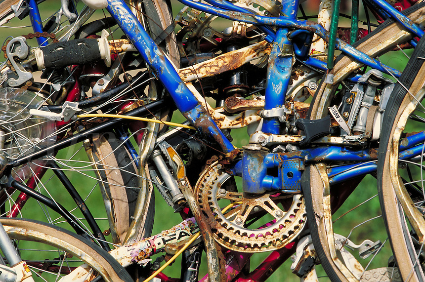 Extreme close up of bicycles smashed into contemporary art, mangled bikes; PR#99.