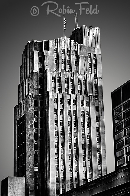 Liberty Tower Building/ First Financial exterior in black & white of deco architecture: Dayton Ohio