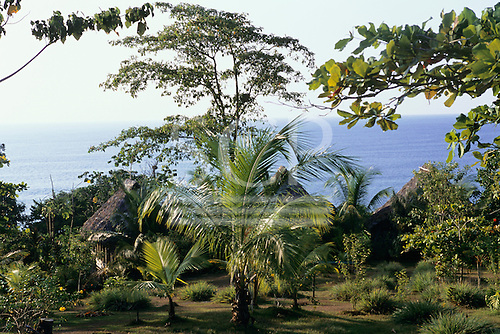Osa Peninsula, Costa Rica. Marenco ecotourist lodge; the grounds with a view of the sea.