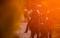 BALTIMORE, MD - MAY 19: Exercise ridder Nick Bush heads back to the barn as he works a horse Preakness Stakes  week at Pimlico Race Course on May 19, 2017 in Baltimore, Maryland. (Photo by Alex Evers/Eclipse Sportswire/Getty Images)
