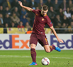 Edin Dzeko of AS Roma kicks the ball during the match Villarreal CF vs AS Roma during their UEFA Europa League 2016-17 Round of 32 match at the Estadio de la Cerámica on 16 February 2017 in Villarreal, Spain. Photo by Maria Jose Segovia Carmona / Power Sport Images