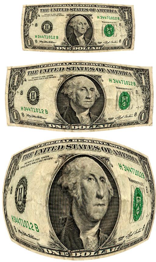 Shrinking dollar bill.