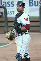APPLETON - June 2012: Rafael Neda (12) of the Wisconsin Timber Rattlers, Class-A affiliate of the Milwaukee Brewers, during a game against the Quad Cities River Bandits on June 25, 2012 at Time Warner Cable Field at Fox Cities Stadium in Appleton, Wisconsin. (Photo by Brad Krause).